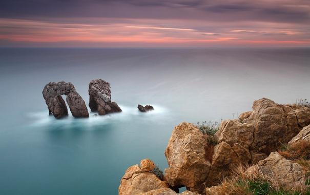 Фото обои море, небо, закат, гладь, камни, океан, скалы
