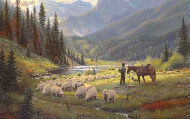 Фото обои лес, небо, свет, река, конь, овцы, собака