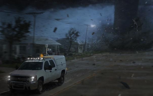 Фото обои дорога, машина, мощь, арт, торнадо