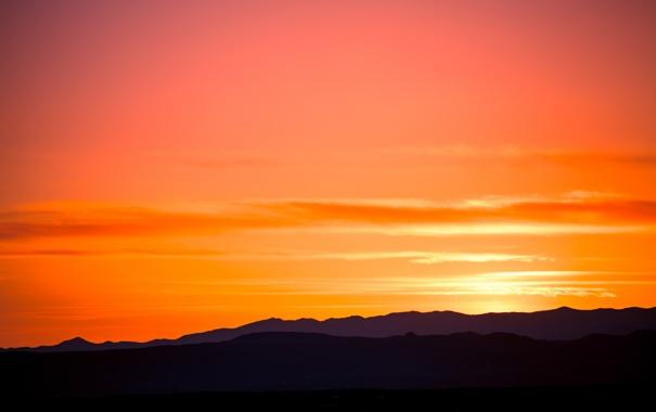 Фото обои небо, закат, горы, краски, силуэт, Santa Fe, Acequie Madre