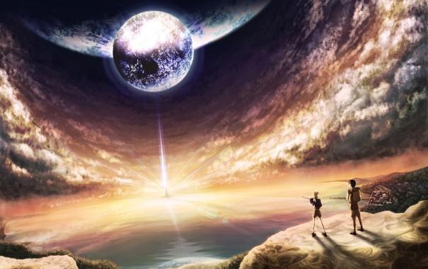 Фото обои свет, пейзаж, планета