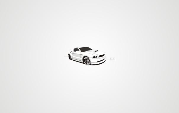 Фото обои белый, тюнинг, Ford, вектор, mustang, арт