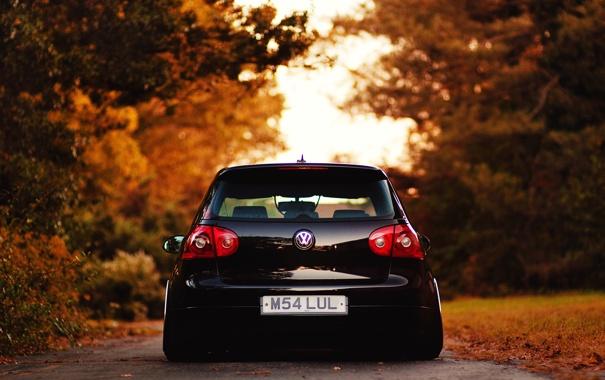 Фото обои дорога, осень, листва, Volkswagen, City, cars, auto