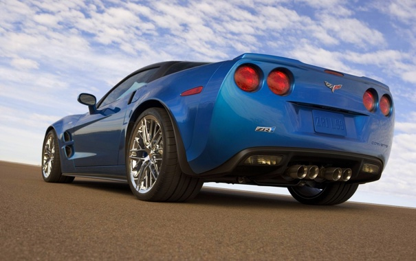 Фото обои Небо, Синий, Chevrolet, Машина, День, ZR1, corvette
