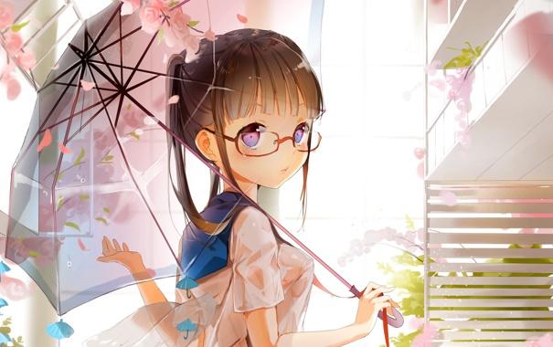 Фото обои девушка, цветы, зонтик, крылья, очки