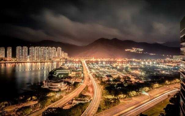 Фото обои ночь, город, Hong Kong