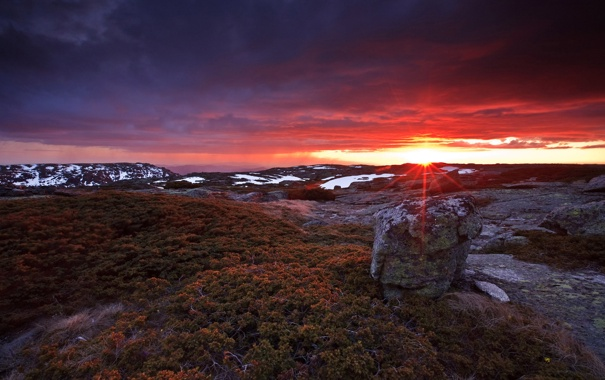 Фото обои небо, солнце, пейзаж, закат, фон, холмы, обои