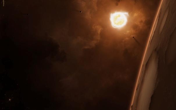 Фото обои поверхность, звезда, планета, атмосфера, спутники, кратеры, газовые облака