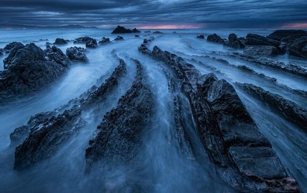 Фото обои море, пейзаж, ночь, скалы