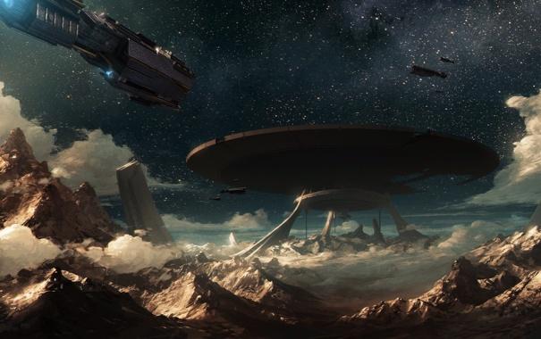 Фото обои звезды, скалы, планета, корабли, остов, арт, Auriga