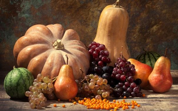 Фото обои осень, урожай, тыква, autumn, leaves, nuts, still life