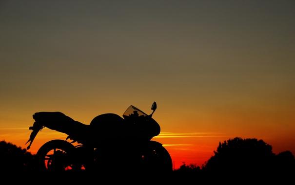 Фото обои небо, закат, мото, профиль, suzuki