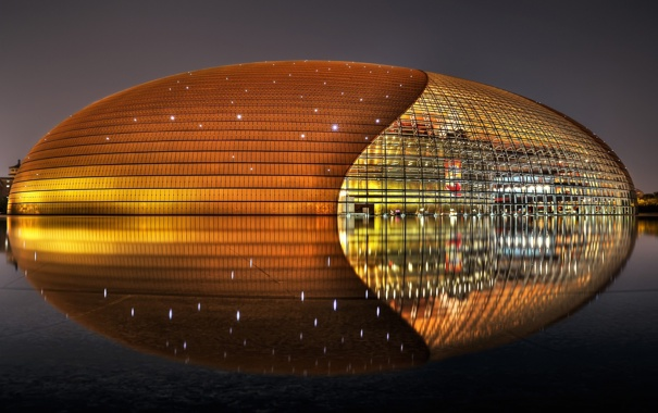 Фото обои National Centre for the Performing Arts, здание, отражение, China, Beijing