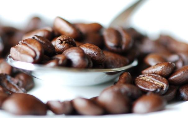 Фото обои белый, макро, фото, фон, кофе, зерна, светлый