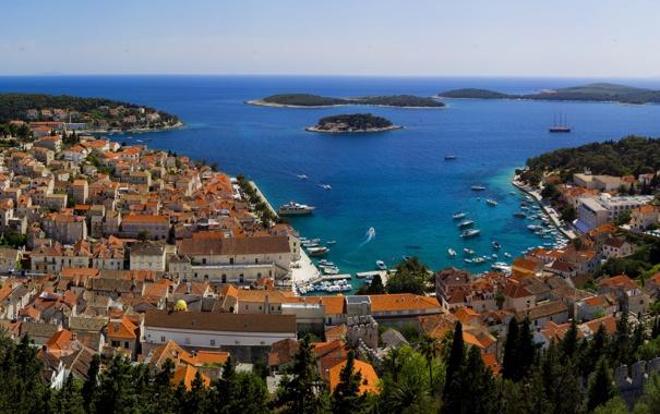 Фото обои море, побережье, дома, лодки, курорт, катера, Хорватия