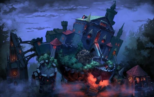 Фото обои небо, огни, стены, Замок, маг, кусты