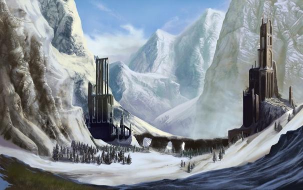 Фото обои снег, деревья, горы, фантастика, арт, башни, руины