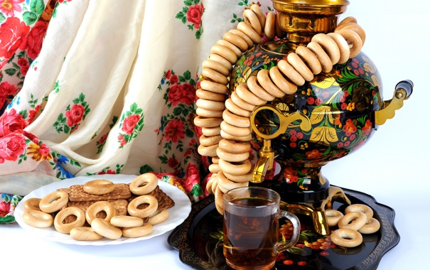 Фото обои чай, печенье, бублики, самовар, поднос, сушки