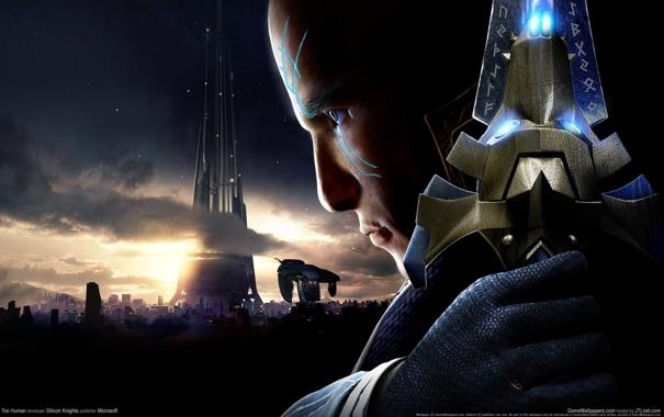 Фото обои звезды, город, корабль, башня, меч, мужчина, too human
