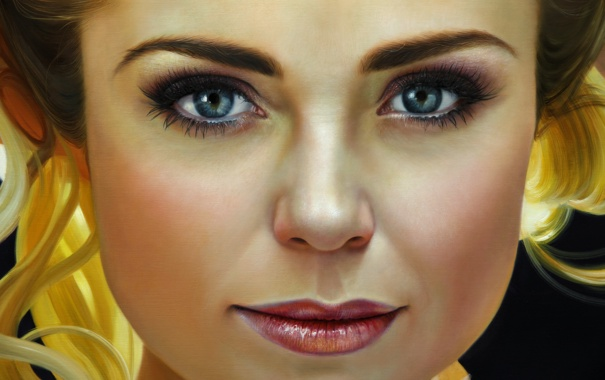 Фото обои взгляд, девушка, лицо, портрет, живопись