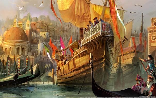 Фото обои город, чайки, арт, порт, Венеция, флаги, гавань