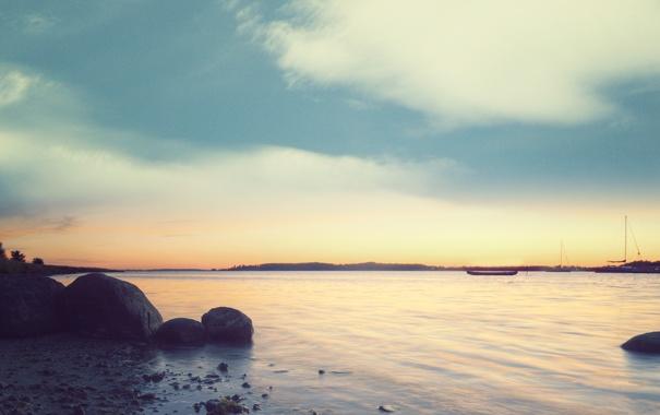 Фото обои море, небо, вода, облака, пейзаж, закат, природа
