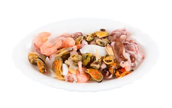 Фото обои осьминог, гребешок, блюдо, креветки, морепродукты, мидии
