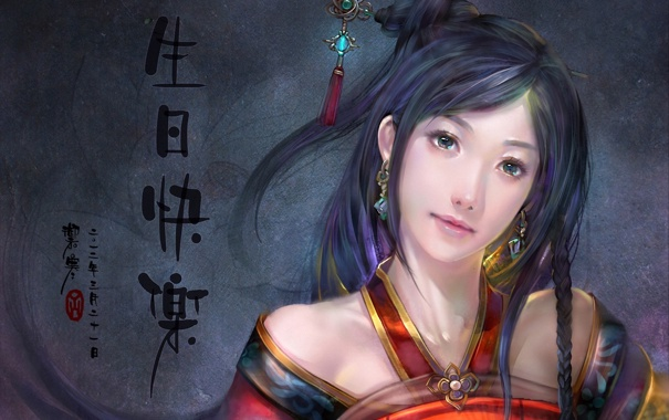 Фото обои девушка, арт, иероглифы, азиатка