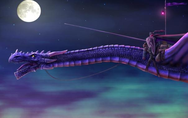 Фото обои полет, ночь, луна, дракон, арт, фонарь, копье