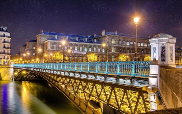 Фото обои свет, снег, ночь, мост, город, огни, река