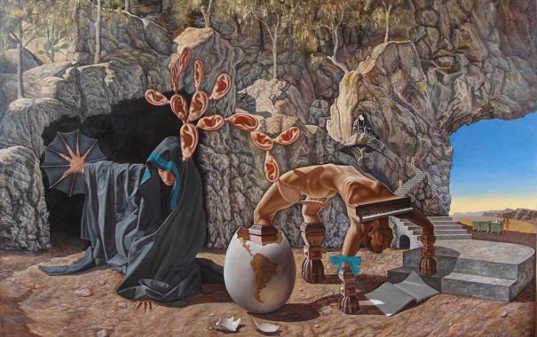 Фото обои сюрреализм, яйцо, рояль, лестница, уши, абсурд, Agim Meta