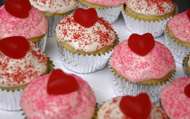 Фото обои сердце, пирожное, сердечко