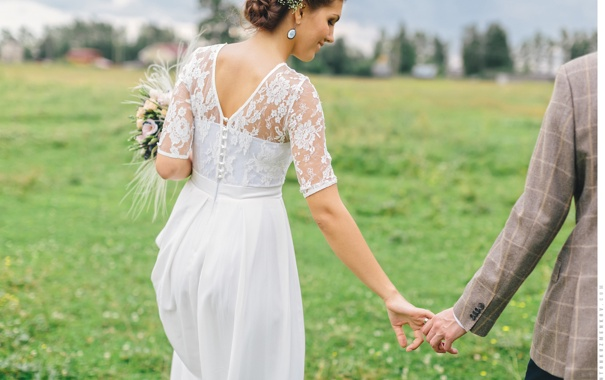 Фото обои девушка, букет, платье, невеста