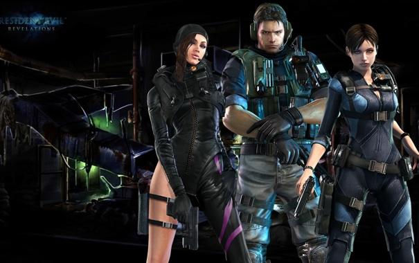 Фото обои пистолет, Resident Evil, team, Resident Evil: Revelations, Biohazard, Jill Valentine, Chris Redfield