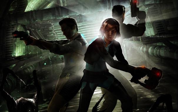 Фото обои девушка, оружие, опасность, монстр, парни, Dead Space, Extraction