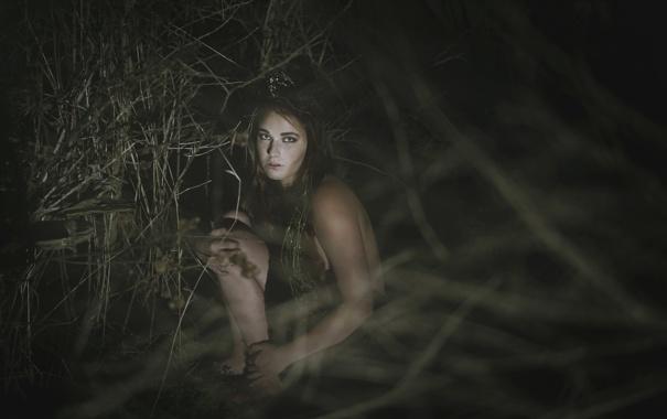 Фото обои взгляд, девушка, ночь