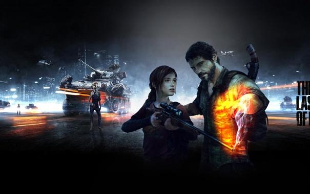 Фото обои оружие, игра, мужик, девочка, танк, Элли, ружье