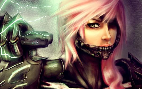 Фото обои розовые волосы, lightning farron, металл, final fantasy, арт, девушка, молния