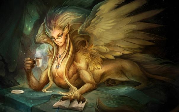 Фото обои Девушка, крылья, лапы, перья, очки, чашка, кулон