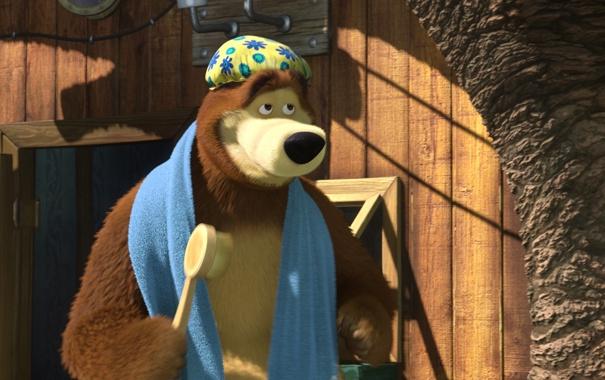 Фото обои мультфильм, полотенце, маша и медведь, мочалка