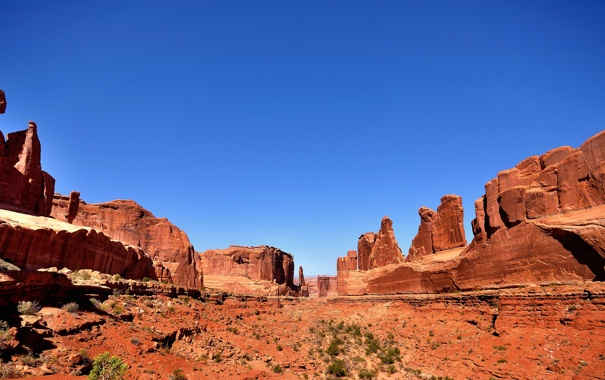 Фото обои небо, горы, камни, скалы, сша, Arches National Park, uta