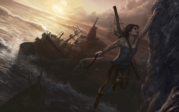 Фото обои скала, океан, игра, корабль, лук, арт, Tomb Raider
