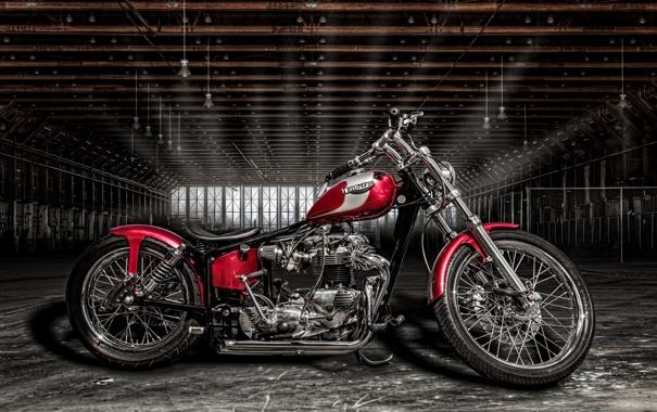 Фото обои Triumph, байк, ангар, мотоцикл, стиль