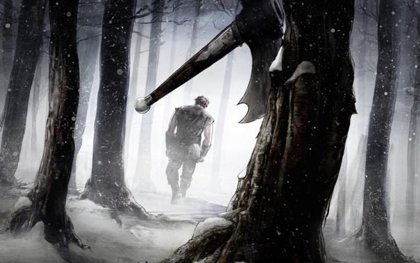 Фото обои зима, лес, парень, топор, иллюстрация к книге, Роберт Джордан, Robert Jordan
