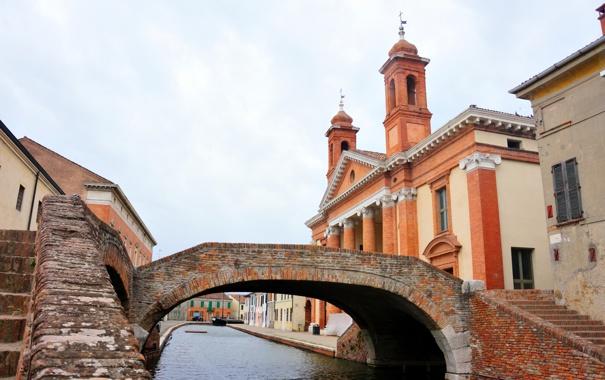 Фото обои небо, мост, церковь, канал