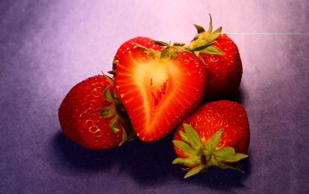 Фото обои макро, ягоды, еда, клубника, ягода, фиолетовые, macro