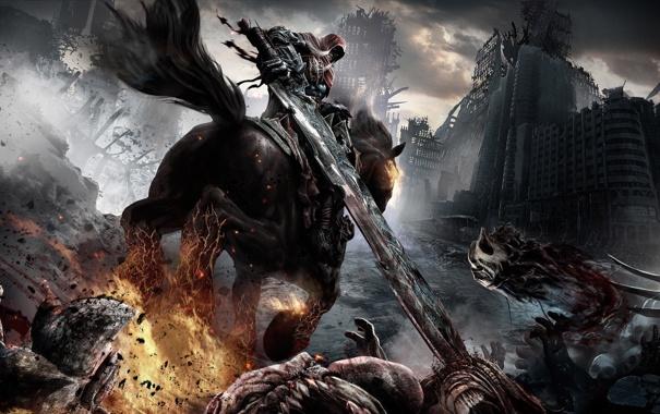 Фото обои конь, меч, монстры, всадник, darksiders: wrath of war