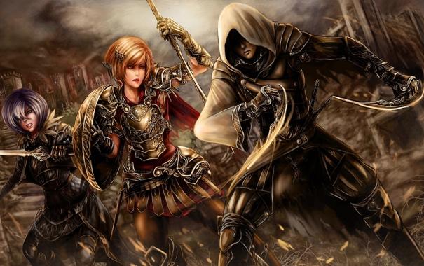 Фото обои девушки, бой, арт, girl, парень, сражение, воины