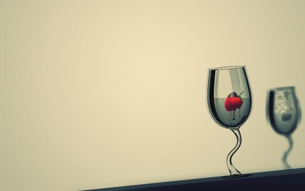 Фото обои вода, капли, отражение, краски, рисунок, бокал, colors