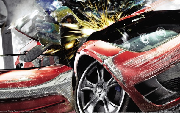 Фото обои машина, авария, игра, бурнаут парадайс сити